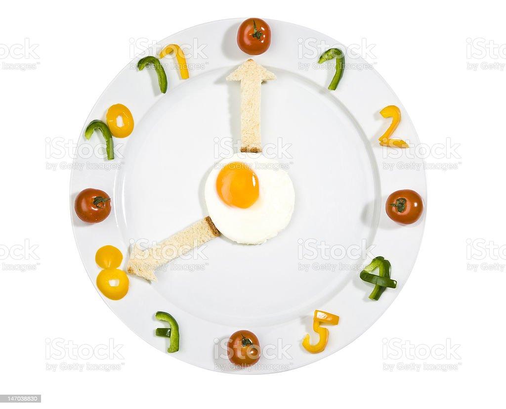 Food clock on white background royalty-free stock photo
