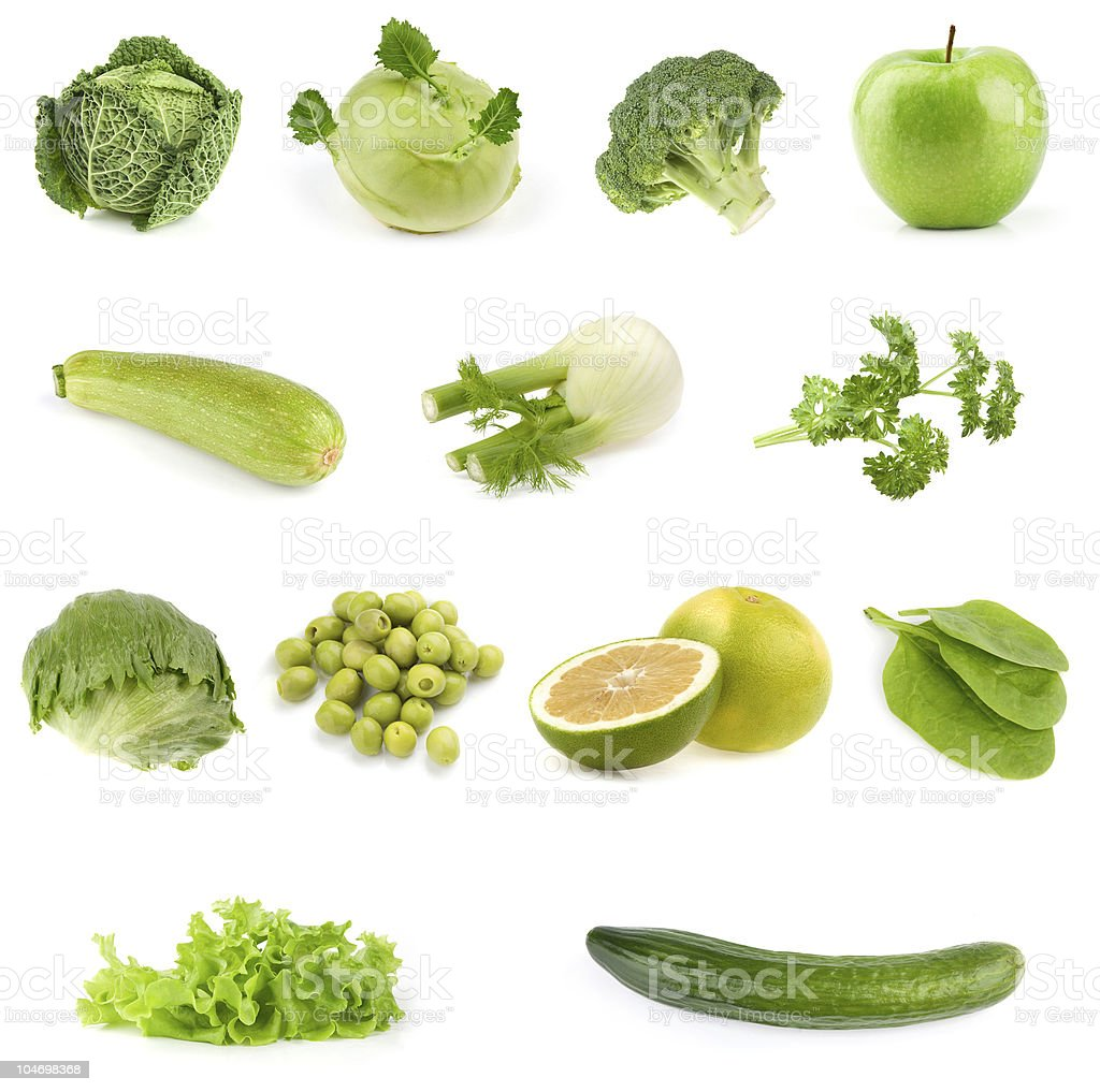 Food collection. All green. royalty-free stock photo
