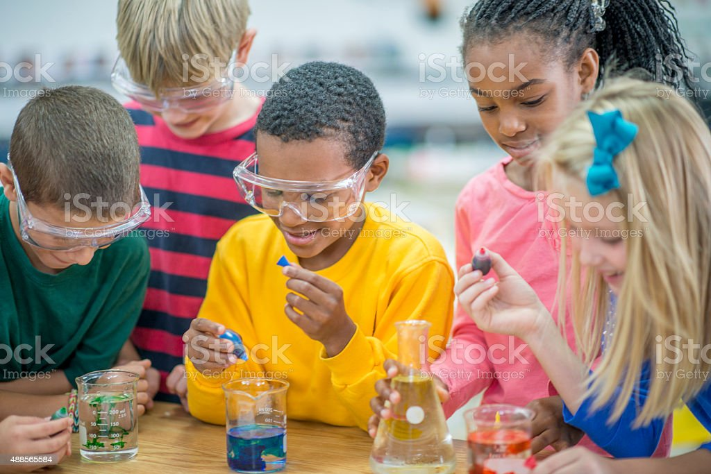 Food Coloring in Test Beakers stock photo