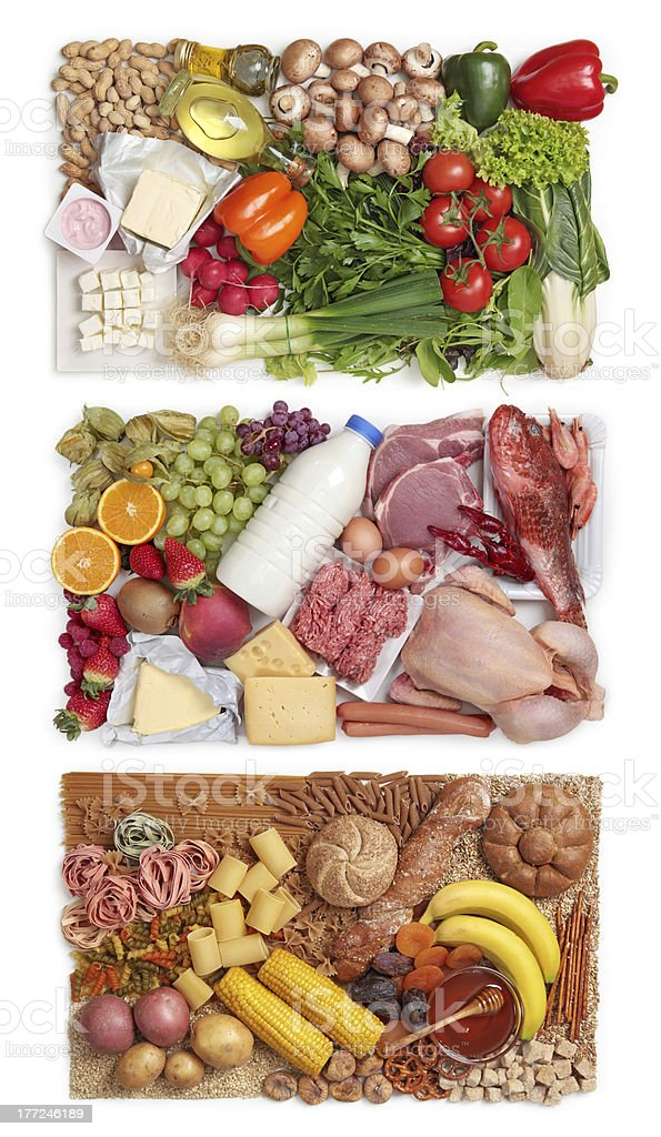 Food combining groups stock photo