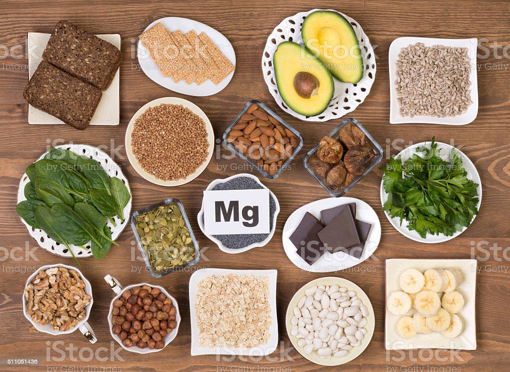 Food containing magnesium stock photo
