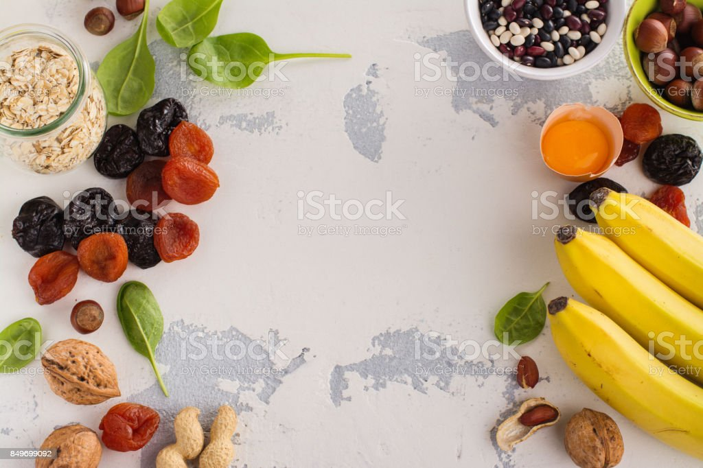 Food containing potassium stock photo