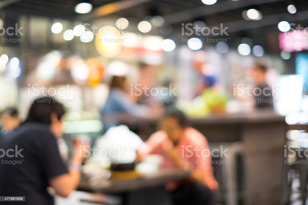 Food court and customer blurred background stock photo
