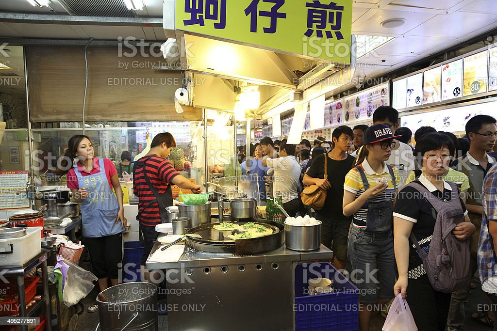 Food Court at the Shilin Night Market in Taipei, Taiwan. stock photo