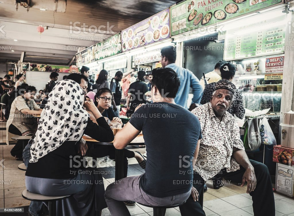 Food court in Little INdia Singapore stock photo