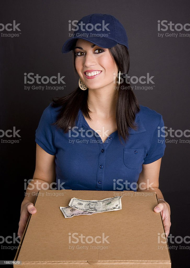 Food Delivery Girl Brings Boxes Full of Pizza Correct Change royalty-free stock photo