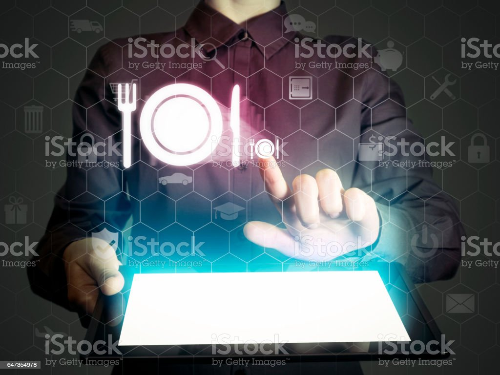 Food delivery icon stock photo