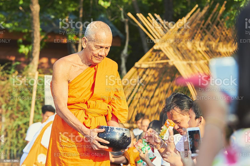 Food donation for Thai monk stock photo
