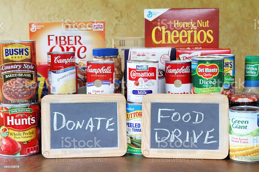 Food Drive concept with assortment of groceries stock photo