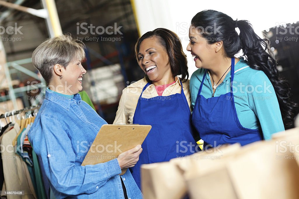 Food Drive Volunteers at Donation Site royalty-free stock photo
