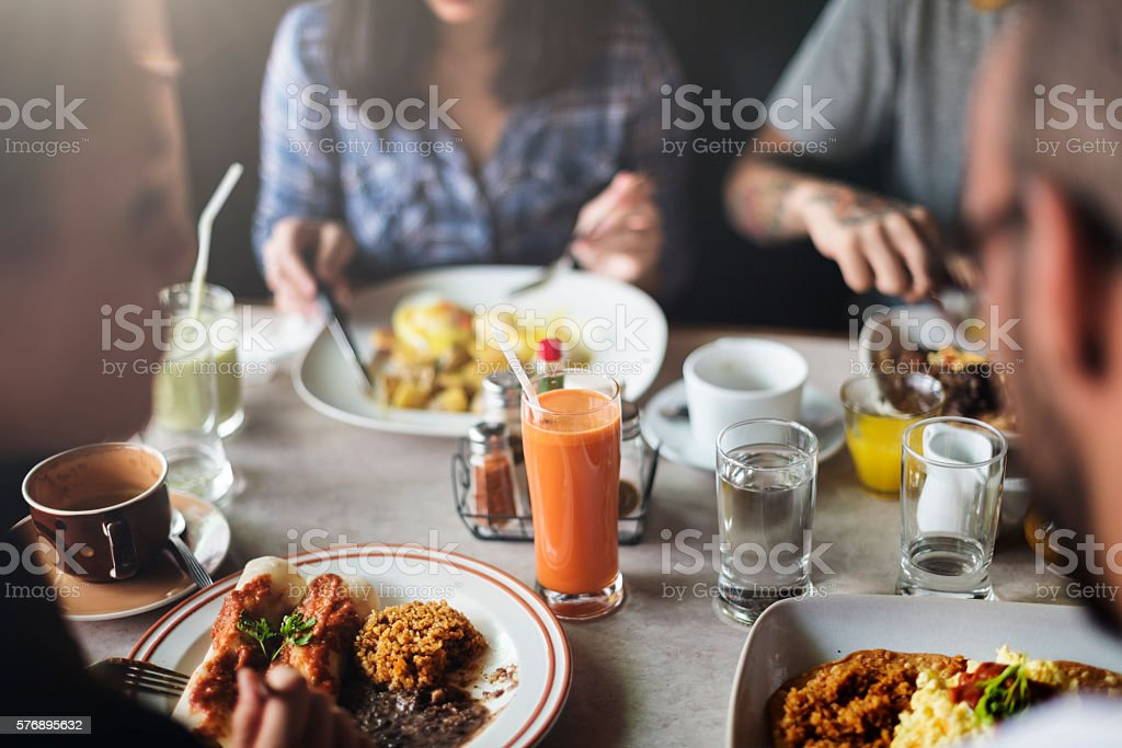 Food Eating Restaurant Community Cafe Concept stock photo
