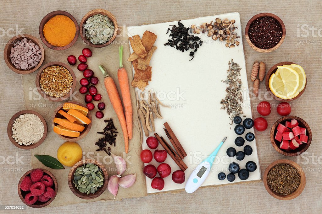 Food for Alternative Cold Cure stock photo