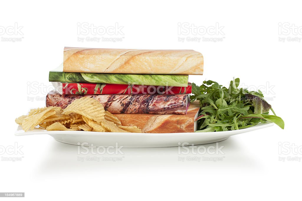 Food for brain, books on a plate royalty-free stock photo