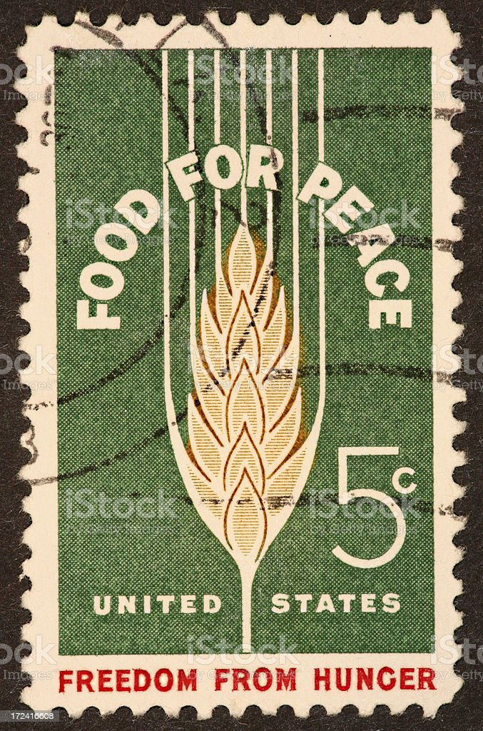 food for peace stamp 1964 royalty-free stock photo