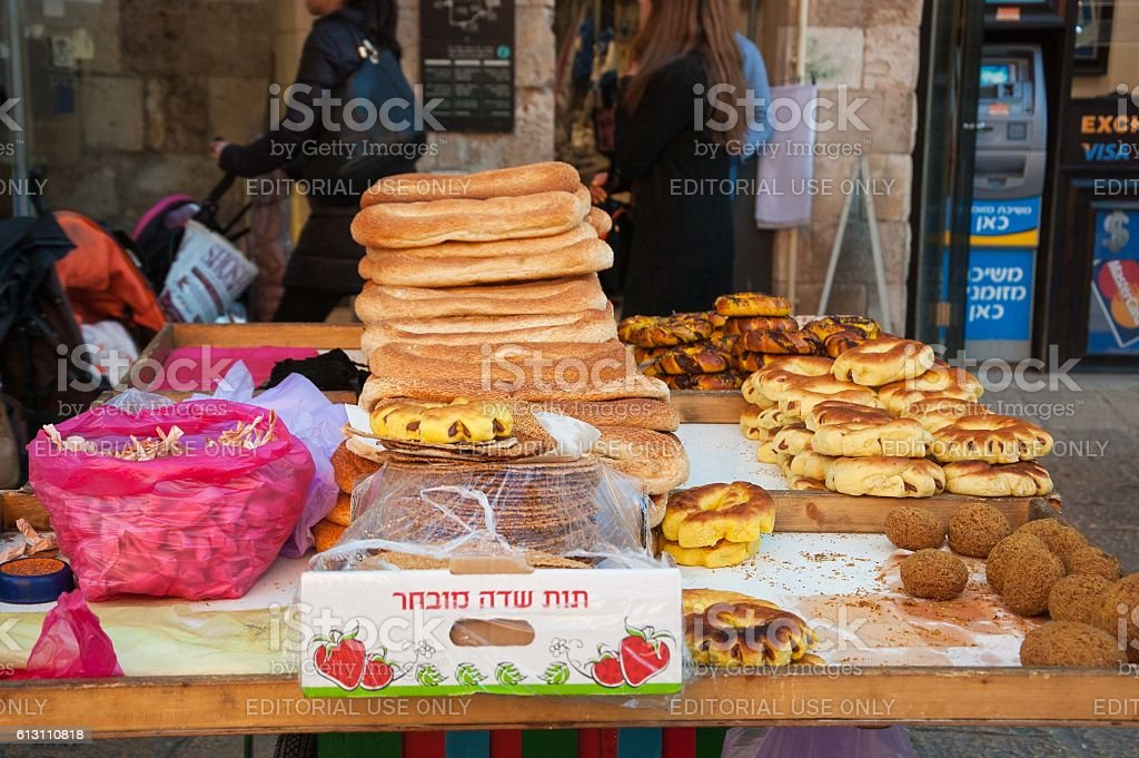 Food for sale in Old City of Jerusalem. stock photo