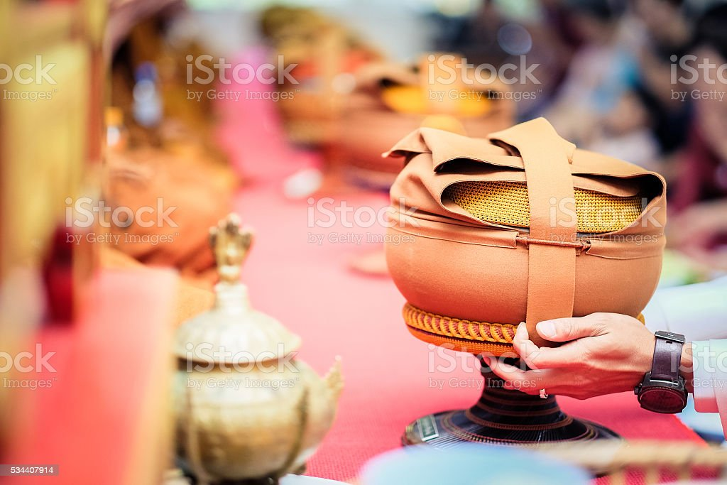 Food for the monks stock photo