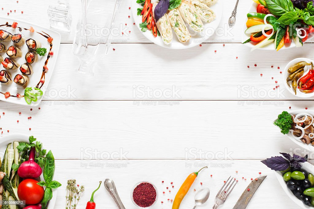Food frame on white wooden table, free space stock photo