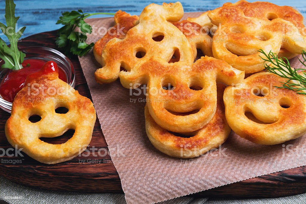 Food French fries potatoes for kids stock photo