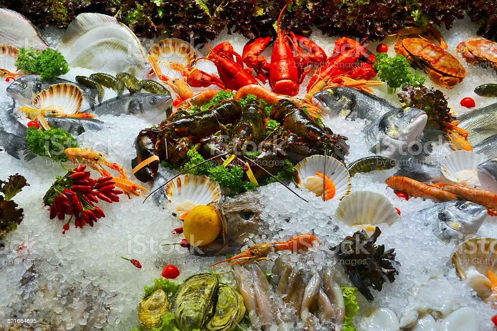 Food, fresh fishes stock photo