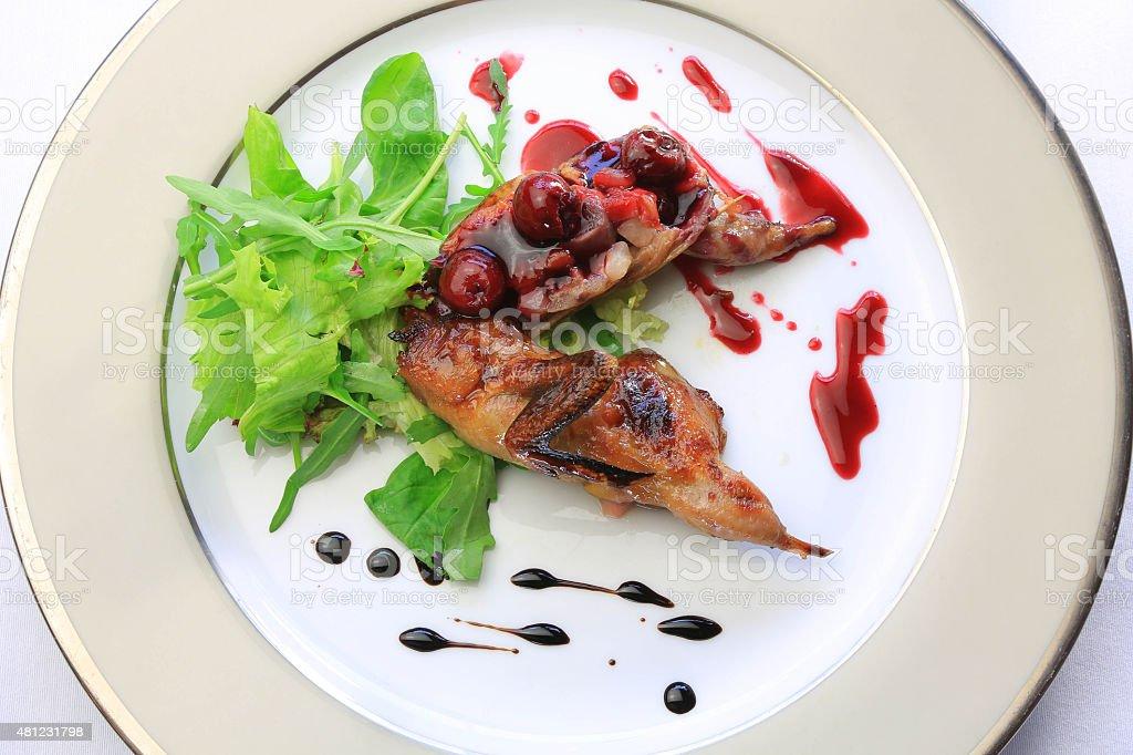 food, fried quail, greens, stock photo