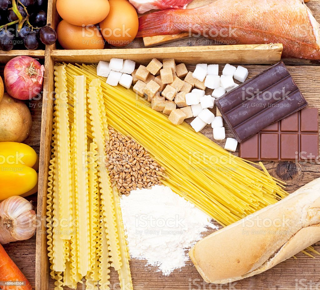 Food full of Carbohydrates stock photo
