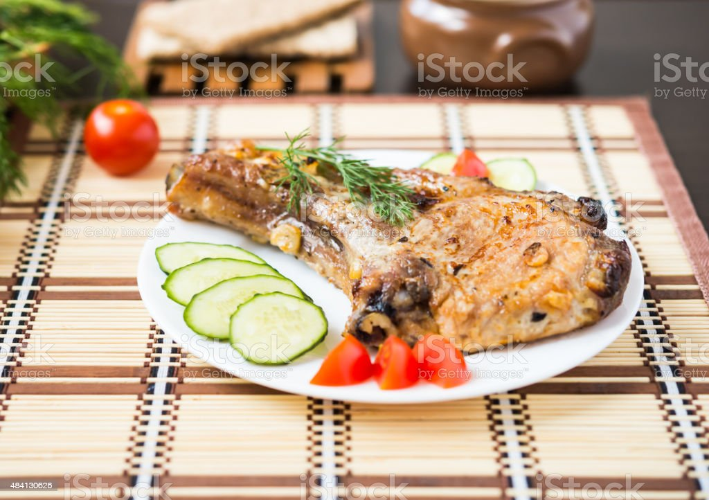 Food. Grilled meat. Meat dish. Pork steak. stock photo