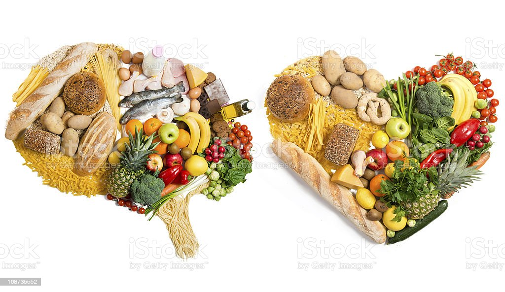 Food in a shape of brain and heart stock photo