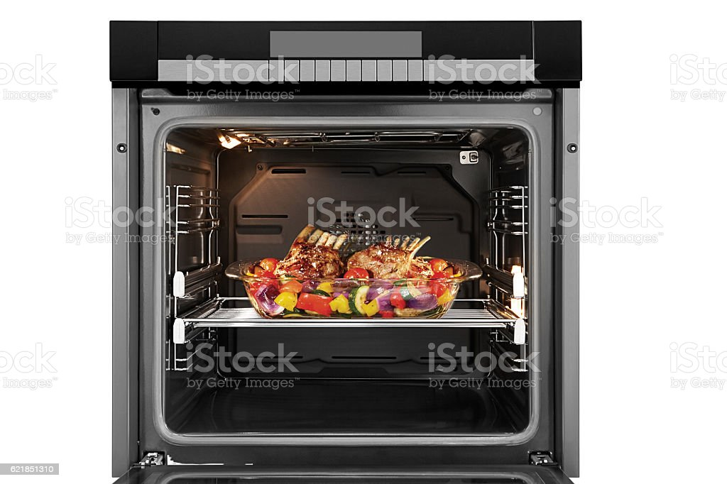 Food in oven stock photo