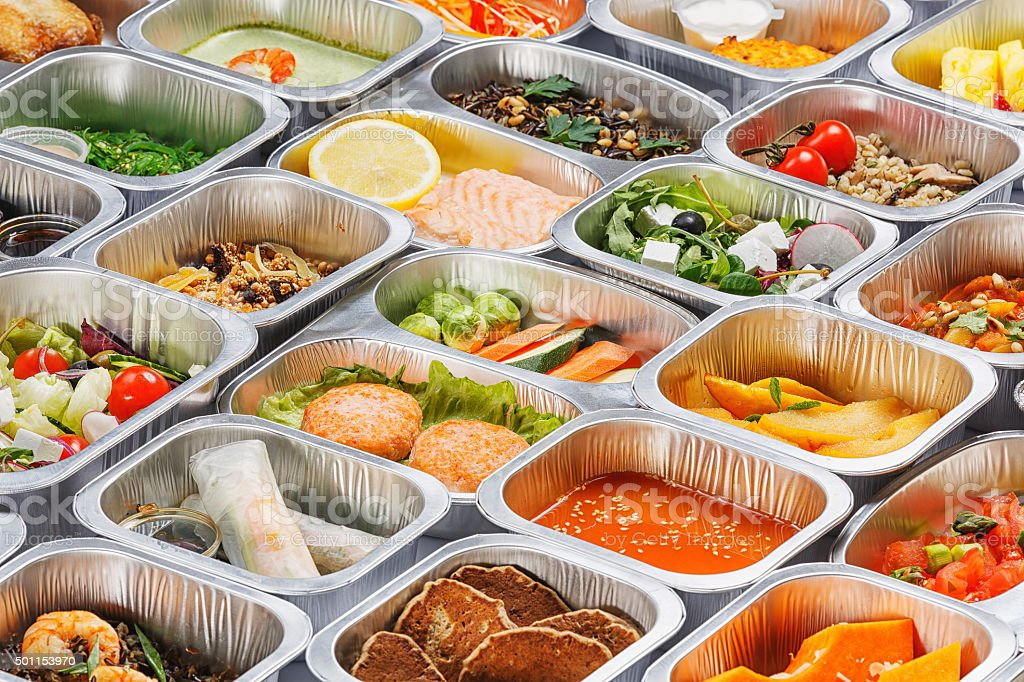 Food in the containers stock photo