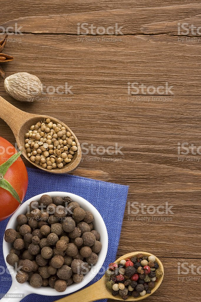 food ingredient and spices on wood royalty-free stock photo
