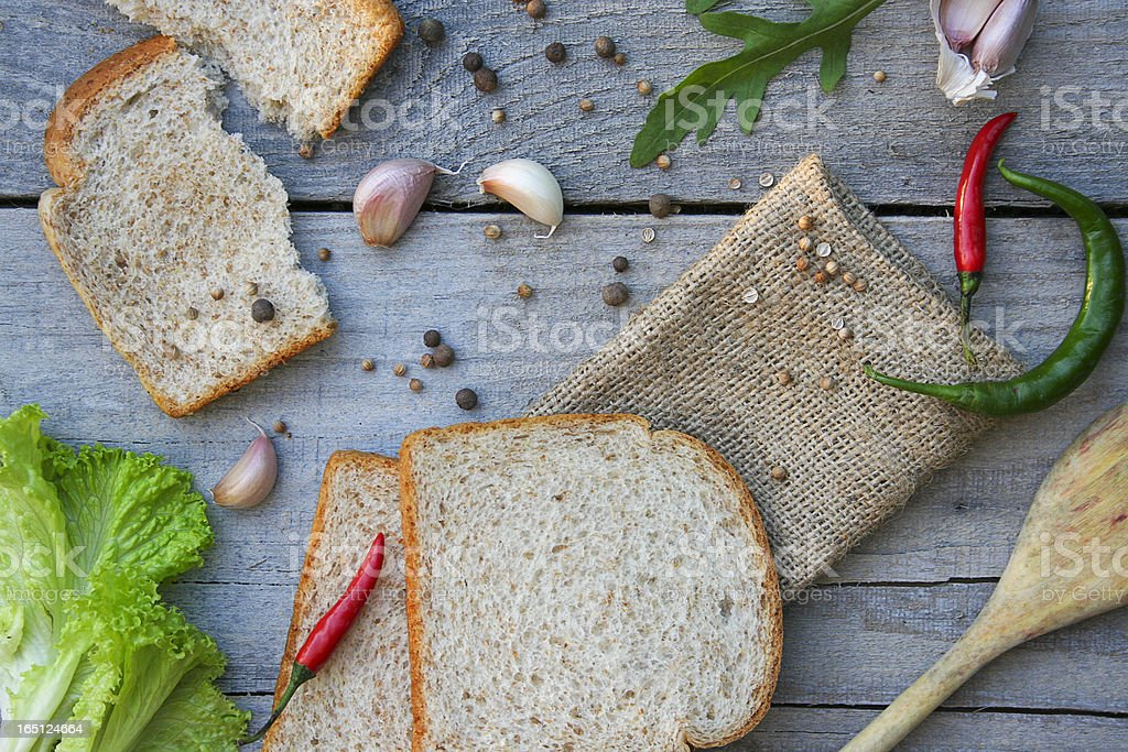 Food Ingredients: Bread and Spices royalty-free stock photo