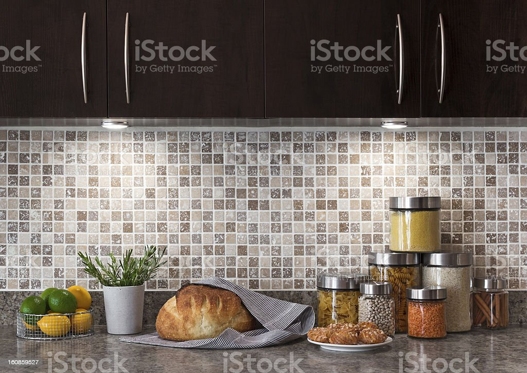Food ingredients in a kitchen with cozy lighting royalty-free stock photo