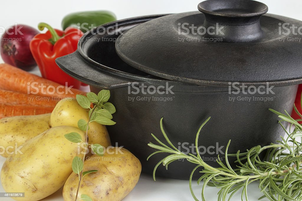 Food ingredients with cauldron royalty-free stock photo