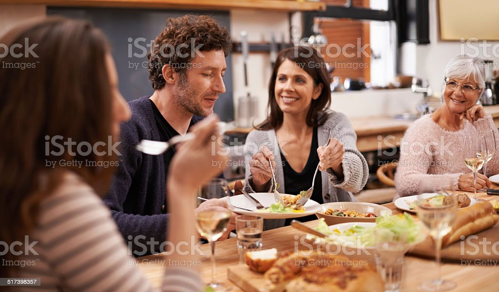 Food is the heart of family stock photo