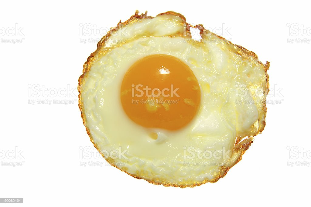 food - just fried egg clouse up on white background royalty-free stock photo