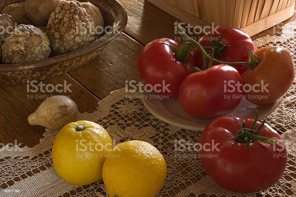 Food, lemons and tomatoes royalty-free stock photo