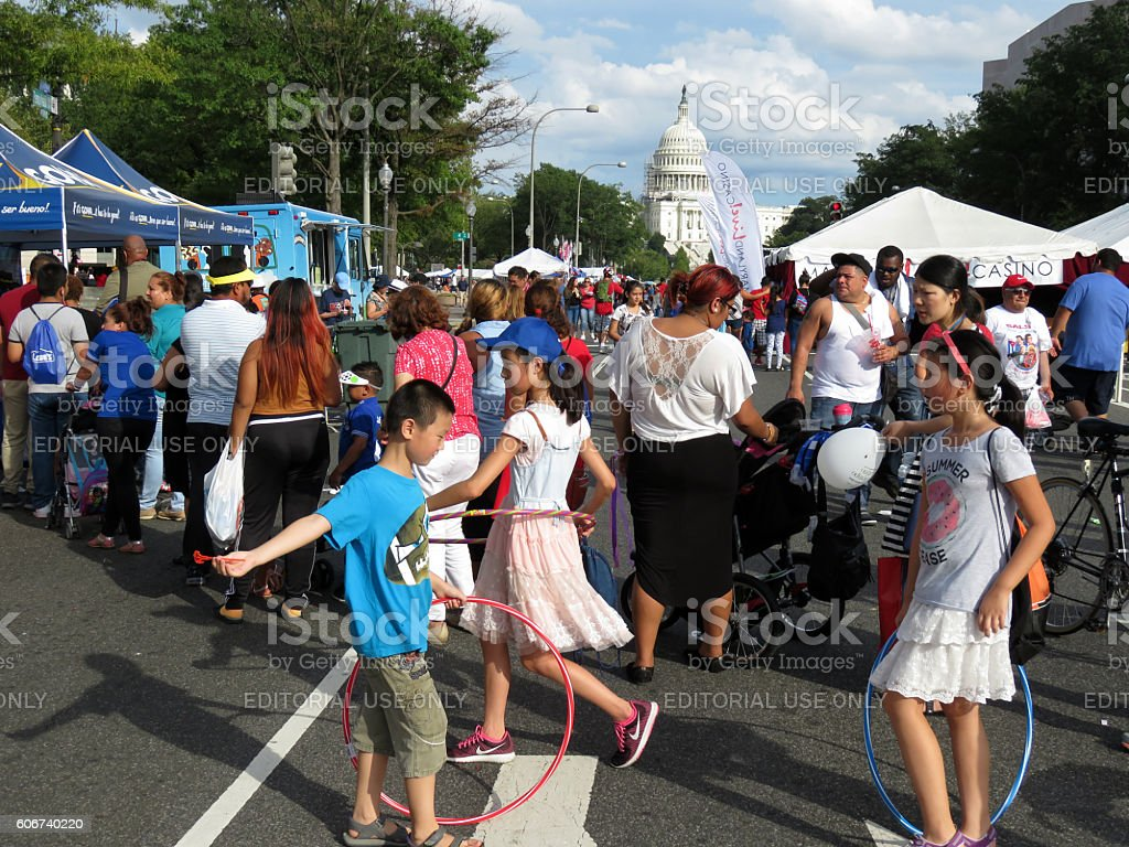 Food Line at the Festival stock photo