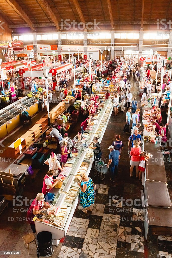 Food Market In Gomel. Example Of Existing Food Market stock photo