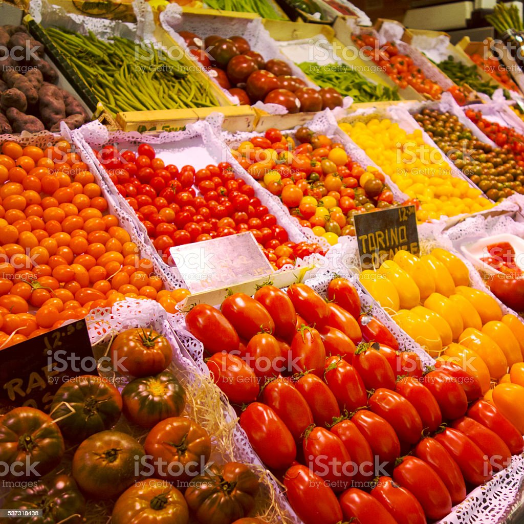 Food market La Boqueria in Barcelona's Ramblas stock photo