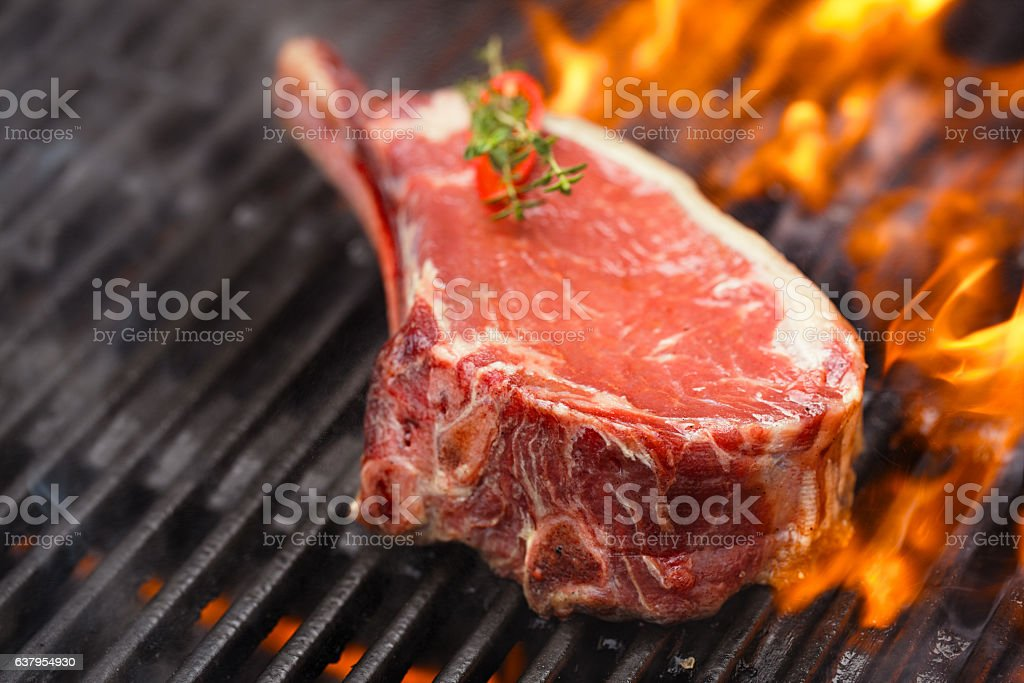food meat - beef steak on bbq barbecue grill with stock photo
