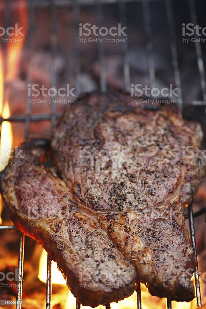 food meat rib eye beef steak on party summer bbq stock photo