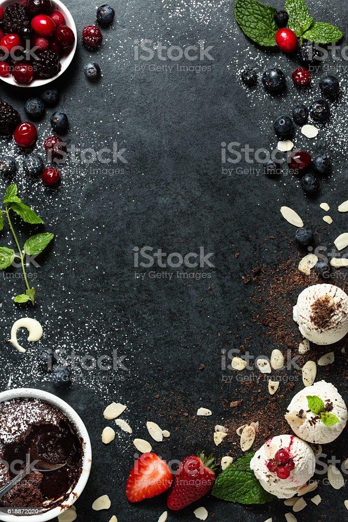 Food menu background - desserts stock photo