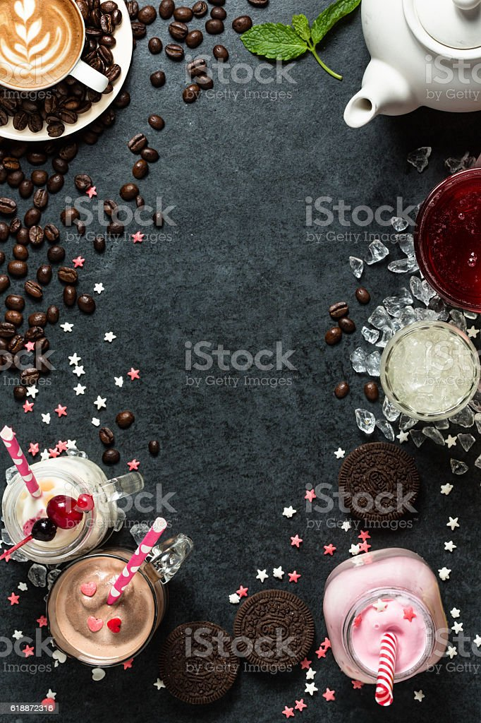Food menu background - drinks stock photo