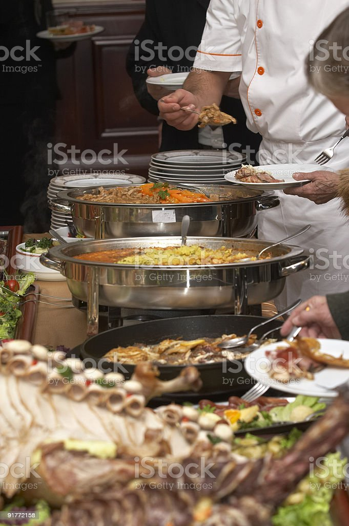Food on a table being served at a catering restaurant royalty-free stock photo