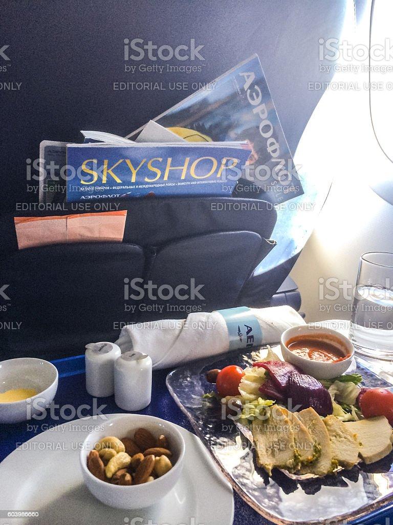 Food on board of Aeroflot airplane stock photo
