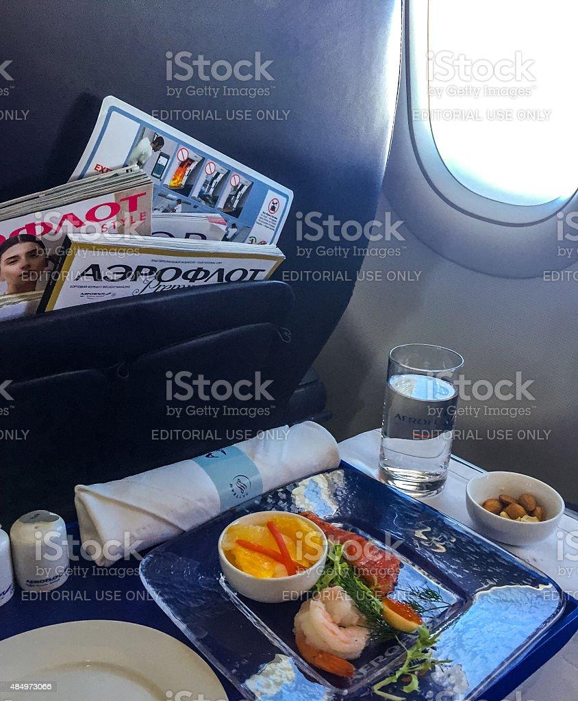 Food on board of Aeroflot flight stock photo