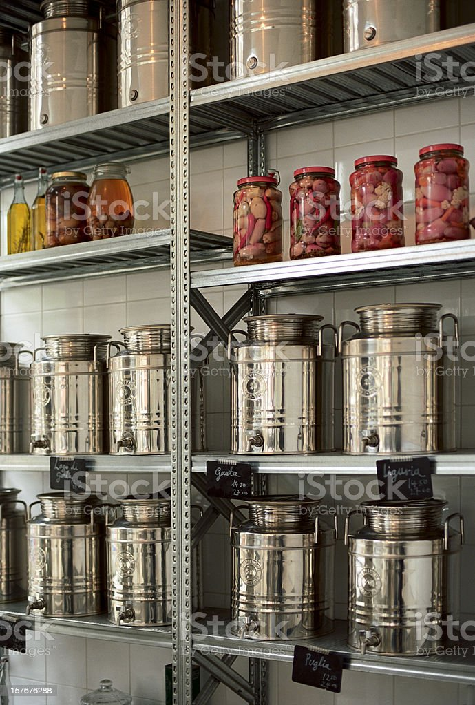 Food on display inside a groceries shop stock photo