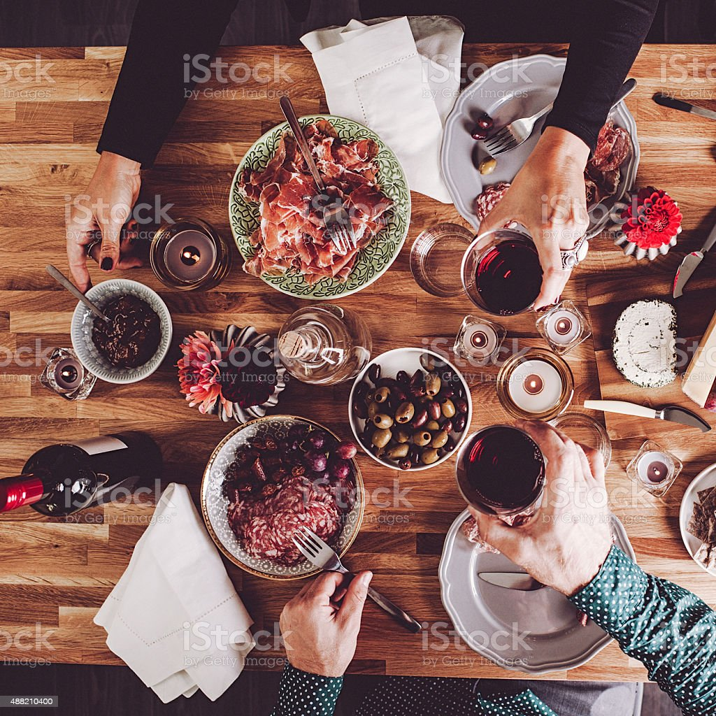 Food on table overhead table top view stock photo