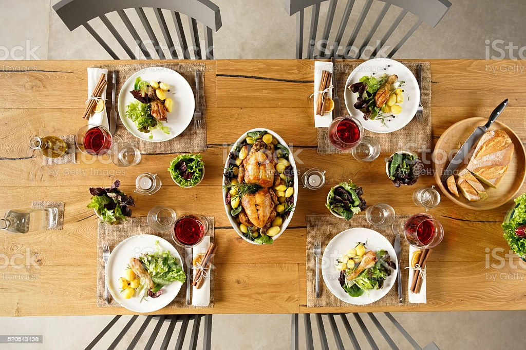 Food on table stock photo