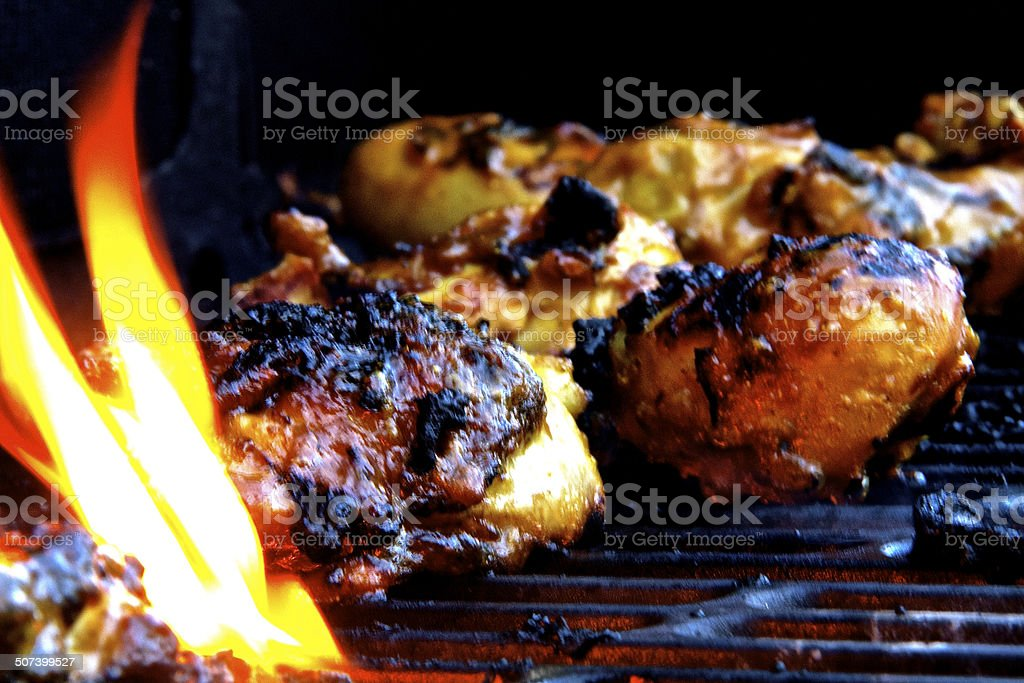 Food on the barbeque stock photo
